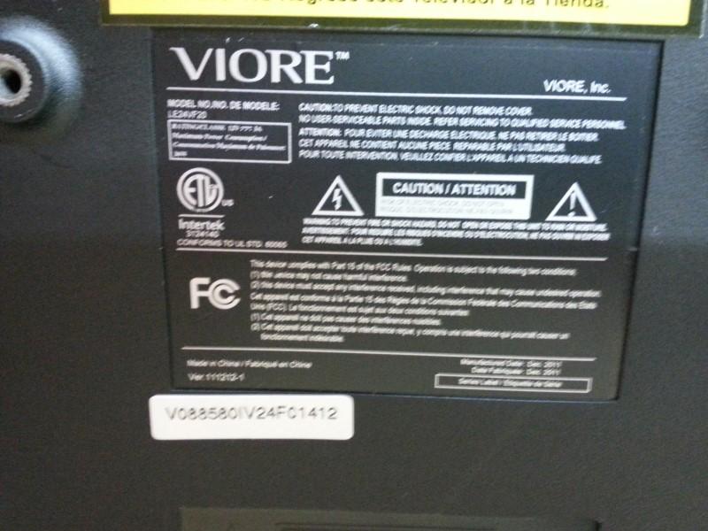 VIORE Flat Panel Television LE24VF20