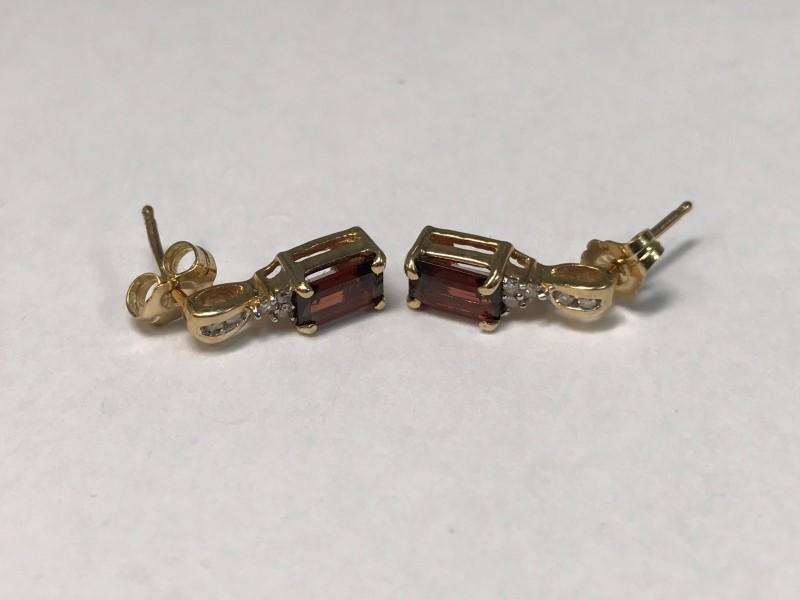 Synthetic Garnet Gold-Diamond & Stone Earrings