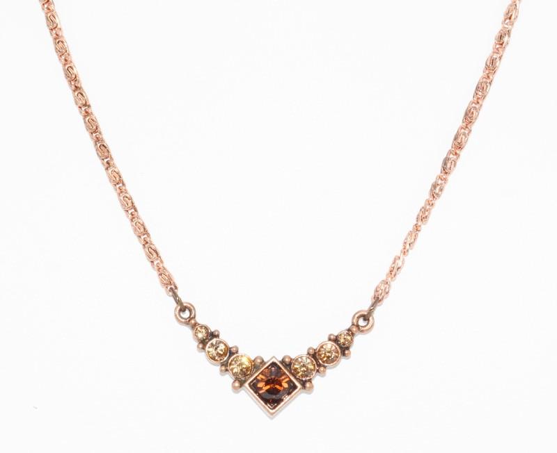 """16"""" Adjustable Vintage Inspired Princess Orange Stone Rose Copper Toned Necklace"""