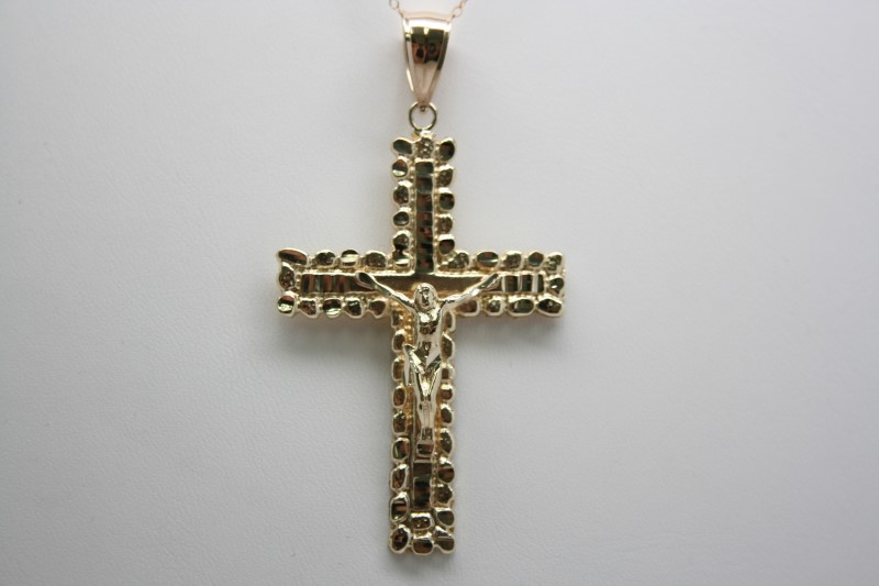 NUGGET STYLE CROSS 10K YELLOW GOLD