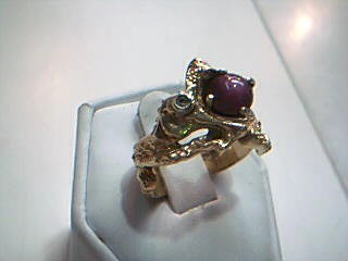 Synthetic Star Ruby Gent's Stone & Diamond Ring .05 CT. 14K Yellow Gold 9.6g