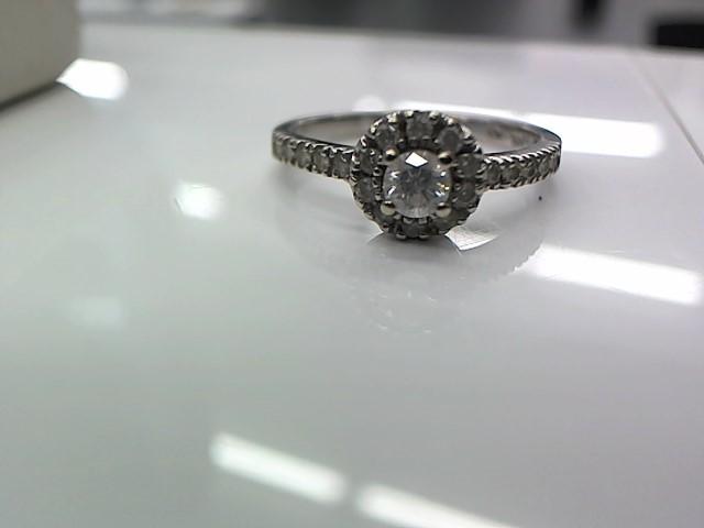 Lady's Diamond Engagement Ring 21 Diamonds .38 Carat T.W. 14K White Gold 2.6g