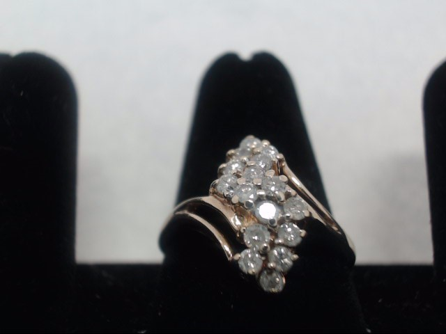 Lady's Diamond Fashion Ring 16 Diamonds .80 Carat T.W. 10K Yellow Gold 2.6g