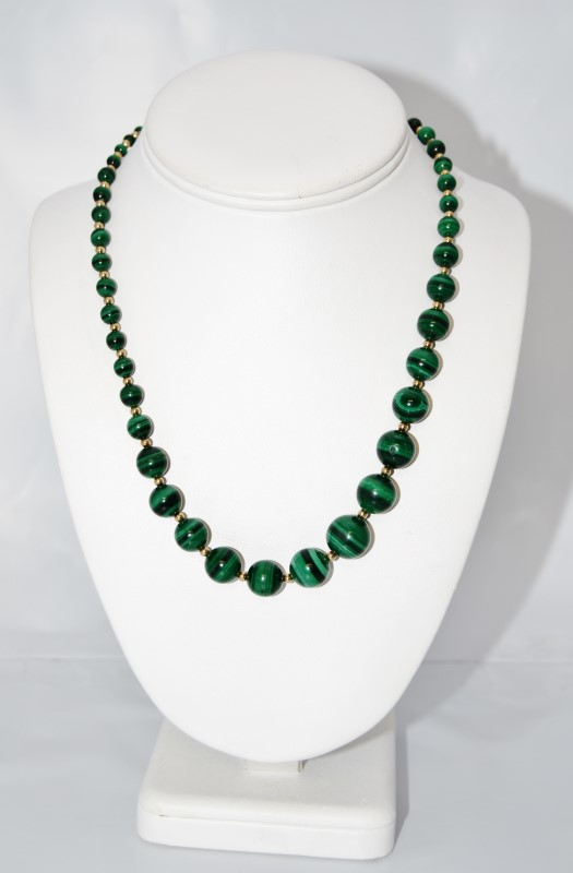 """24"""" Tapered Malachite & Gold Toned Beaded Necklace w/ Pearl Clasp"""