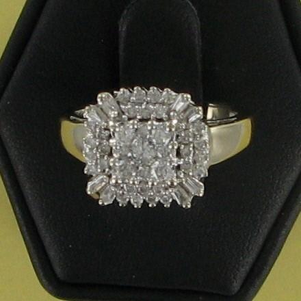 Lady's Diamond Cluster Ring 35 Diamonds .70 Carat T.W. 14K White Gold 3.2dwt