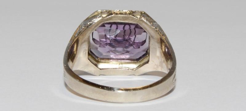 10K Men's Vintage Inspired White Gold Bezel & Emerald Cut Amethyst Ring SZ 8.5