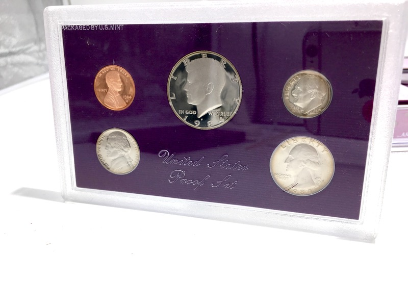 1984-1993 United States Proof Sets - 50 Coins - With Boxes & COA