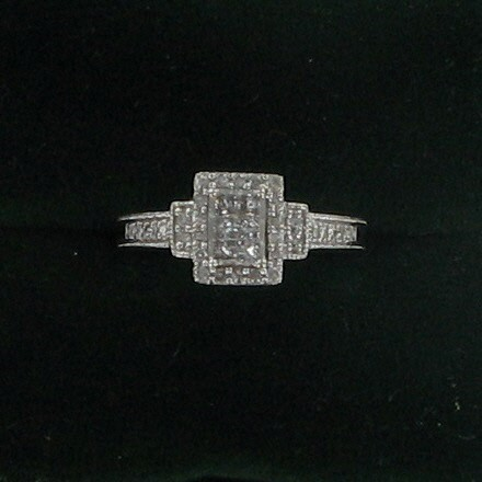 Lady's Diamond Engagement Ring 38 Diamonds 1.14 Carat T.W. 10K White Gold