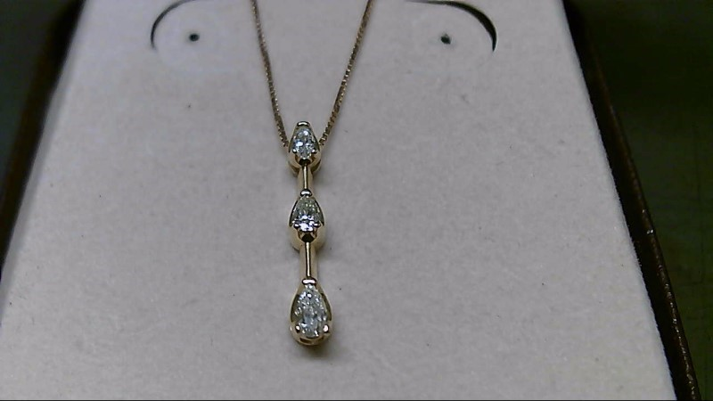 Diamond Necklace 3 Diamonds .23 Carat T.W. 14K Yellow Gold 1.9g