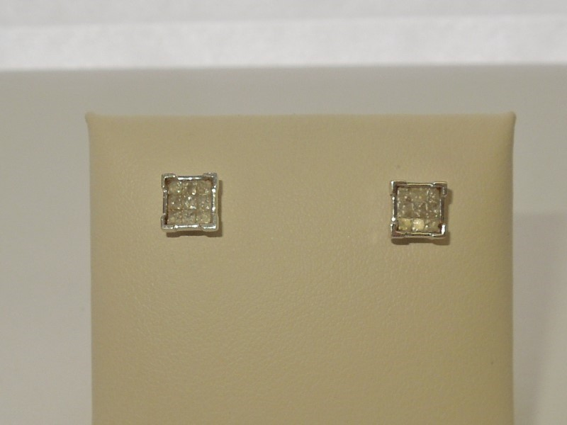 Gold-Diamond Earrings 18 Diamonds .54 Carat T.W. 10K White Gold 1.2g