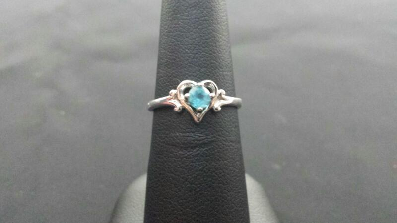 Heart Blue Topaz Lady's Silver & Stone Ring 925