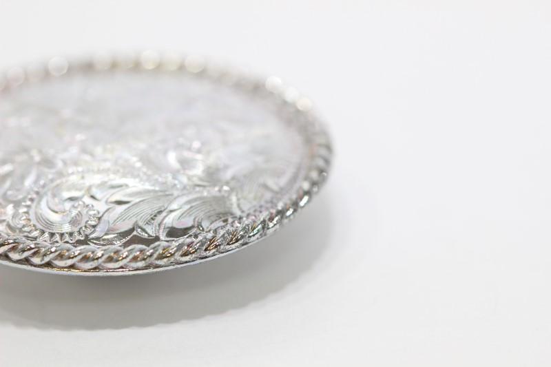 Silver Colored Round Floral Filigree Western Belt Stud