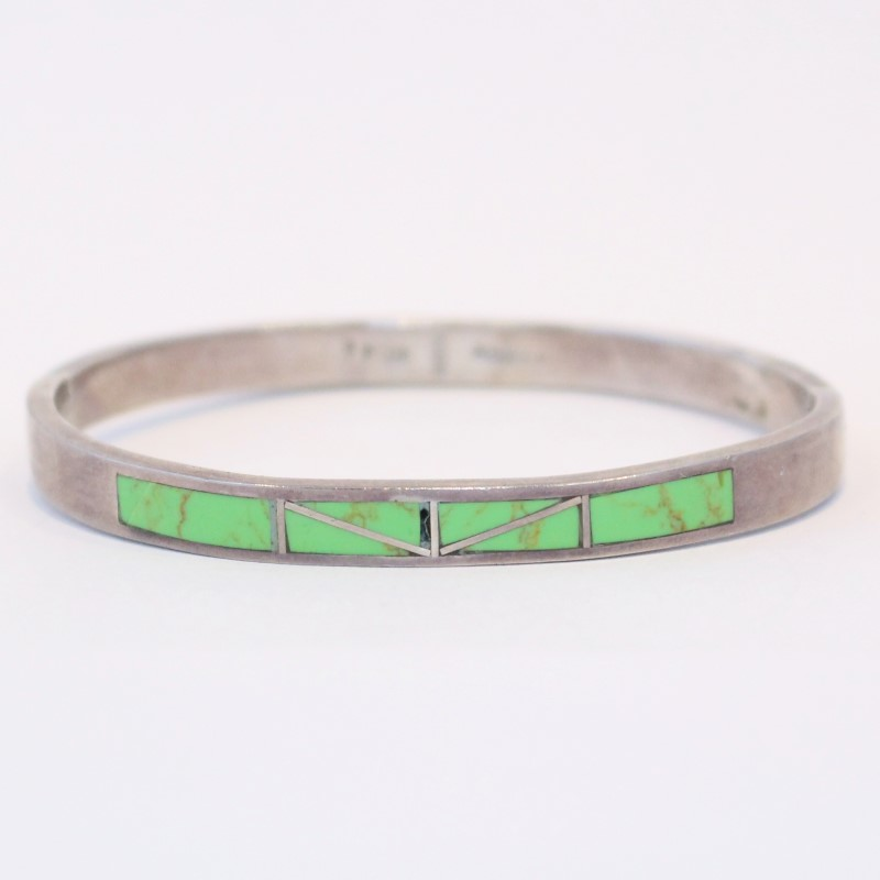 Green Marbled Quad-Stoned Sterling Silver Bracelet