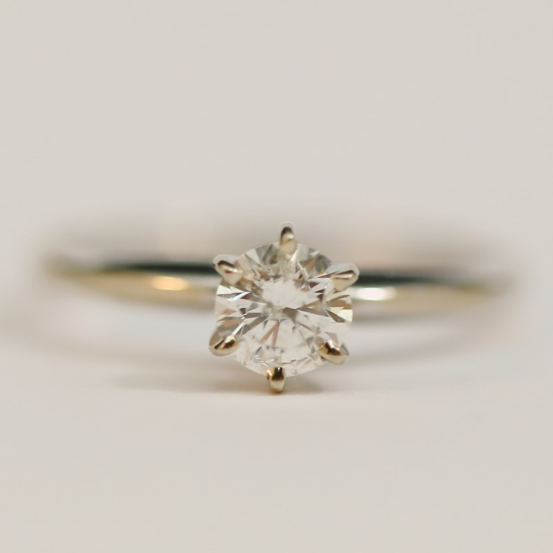 14K White Gold Round Brilliant Cut Diamond Solitaire Ring Size 7.5