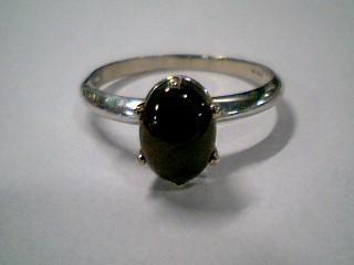 Black Stone Lady's Stone Ring 10K White Gold 1.8g Size:7.8