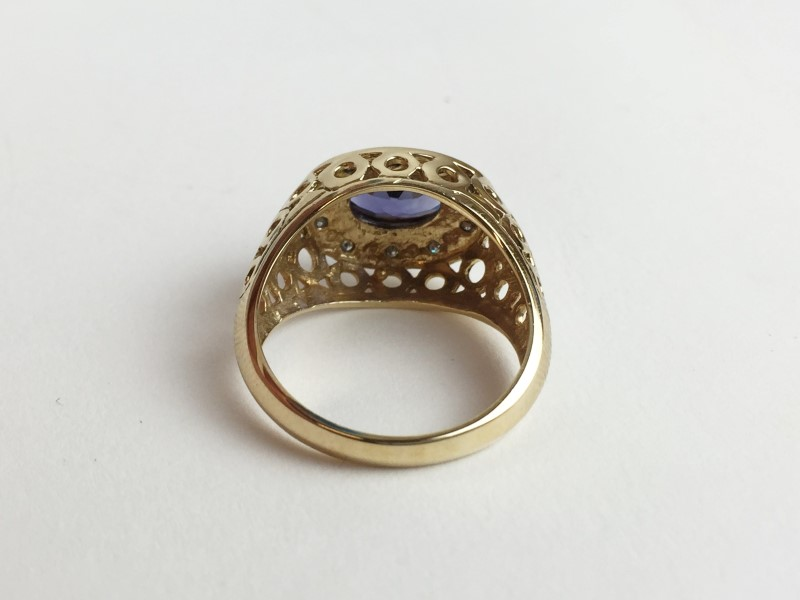 Tanzanite Diamond 10K Yellow Gold 4.4g Ring