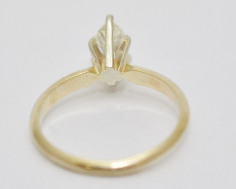 14K Yellow Gold Marquise Diamond Solitaire Engagement Ring .6ct Size 5