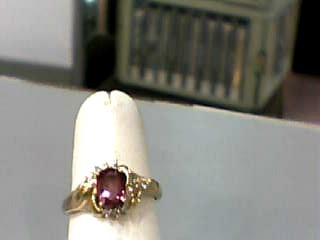 Synthetic Pink Tourmaline Lady's Stone Ring 10K Yellow Gold 1.6dwt Size:6.3