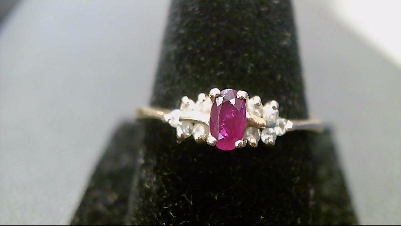 Ruby Lady's Stone & Diamond Ring 10 Diamonds .20 Carat T.W. 14K Yellow Gold
