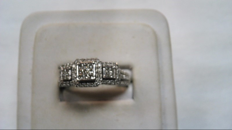 Lady's Diamond Fashion Ring 62 Diamonds .79 Carat T.W. 10K White Gold 5.2g