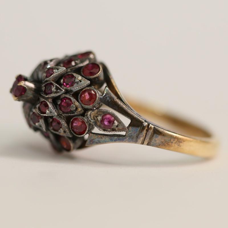 Antique 10K Yellow Gold Estate Princess Harem Ruby Ring SIze 7
