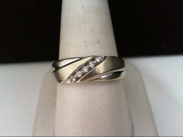 Gent's Gold-Diamond Wedding Band 5 Diamonds .10 Carat T.W. 10K White Gold 5.3g