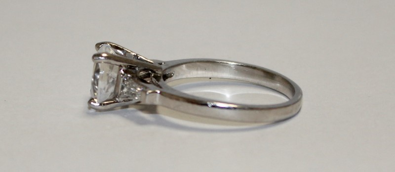 Lady's Platinum-Diamond & Moissanite Ring 2 Diamonds .10 Carat T.W.