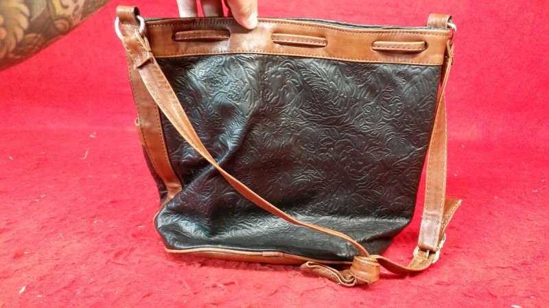 Women's Black / Brown Leather Purse / Handbag