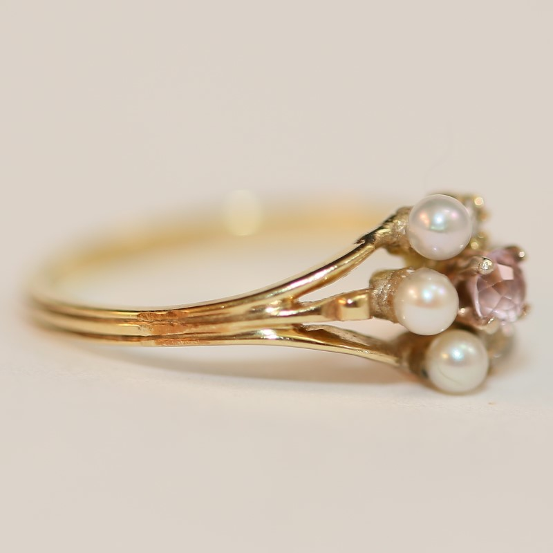 Multi Pearl, Pink Stone & Diamond Ring Set In 14K Yellow Gold Size 5