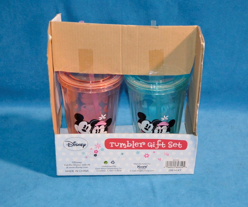 DISNEY TUMBLER GIFT SET MICKEY AND MINNIE