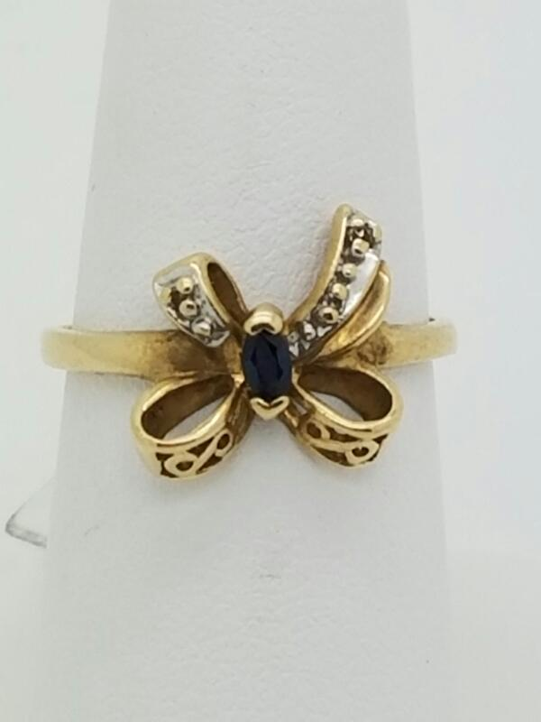 BLUE STONE(S) Blue Stone Lady's Stone Ring 10K Yellow Gold 1.1dwt Size:6