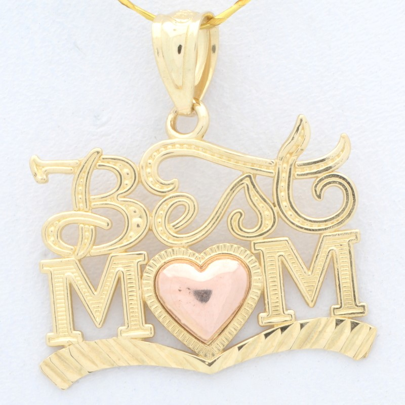 BEST MOM HEART CHARM PENDANT SOLID REAL 14K GOLD MOTHERS DAY GIFT