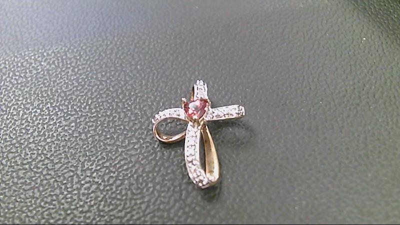 Almandite Garnet Silver-Stone Pendant 925 Silver 1.2g