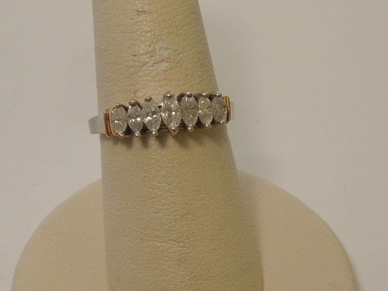Lady's Diamond Fashion Ring 7 Diamonds .46 Carat T.W. 14K 2 Tone Gold 3.2g