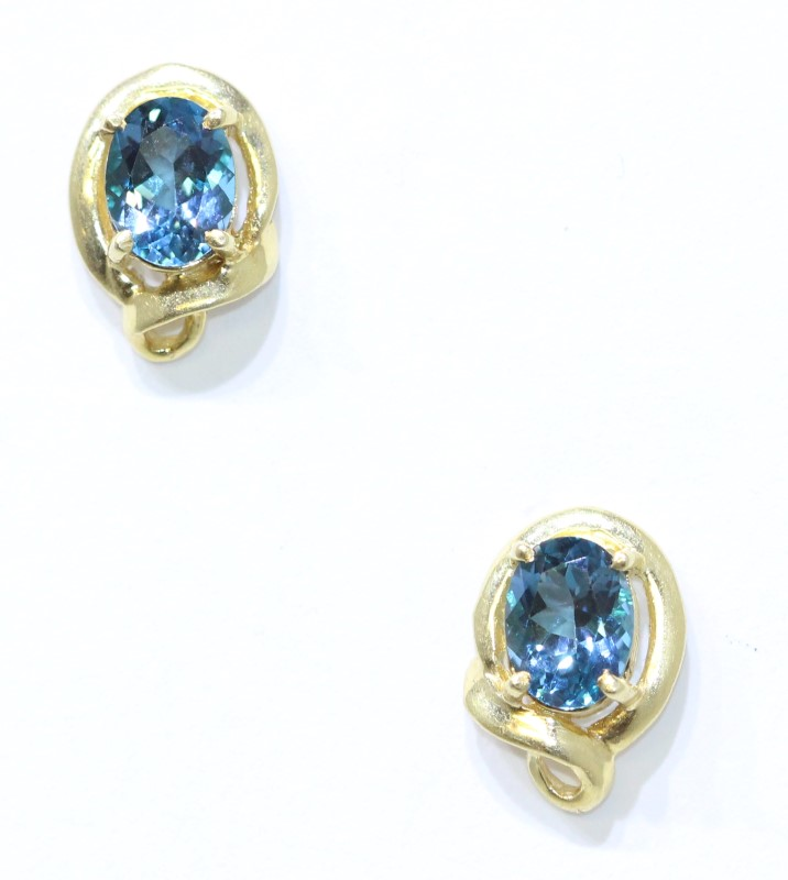 14K Yellow Gold Oval Blue Topaz Vintage Inspired Scroll Stud Earrings