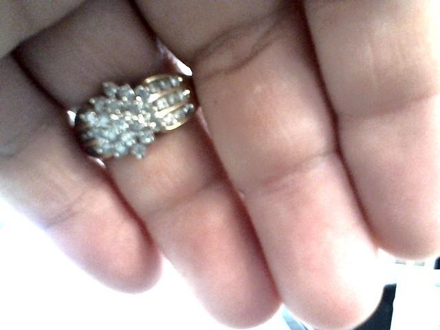 Lady's Diamond Cluster Ring 53 Diamonds 1.41 Carat T.W. 10K Yellow Gold 3.3dwt