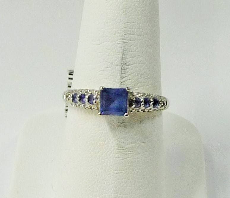 Synthetic Blue Topaz Lady's Stone Ring 10K White Gold 1.25dwt