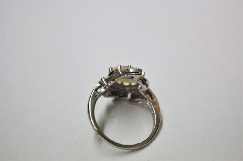 Opal Lady's Stone & Diamond Ring 6 Diamonds .06 Carat T.W. 14K White Gold 3.9g
