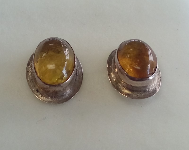 Yellow Stone Silver Stud Earrings