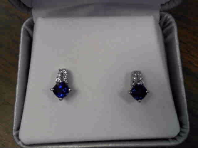Blue Stone Silver-Diamond & Stone Earrings 12 Diamonds .060 Carat T.W.