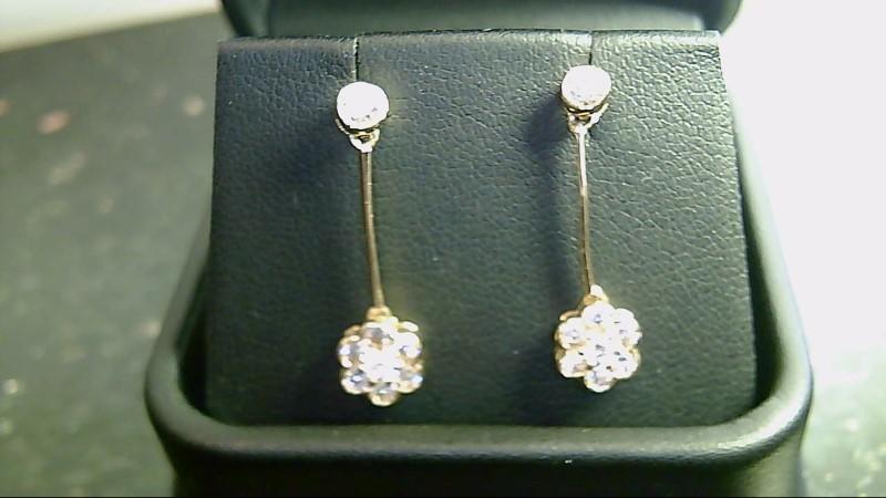lady's 14kyg round cz dangle earrings