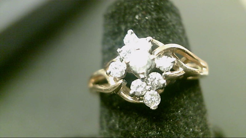 Lady's Diamond Cluster Ring 9 Diamonds .37 Carat T.W. 14K Yellow Gold 2.1g