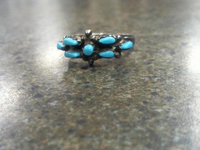 Synthetic Turquoise Lady's Silver & Stone Ring 925 Silver 1.8g