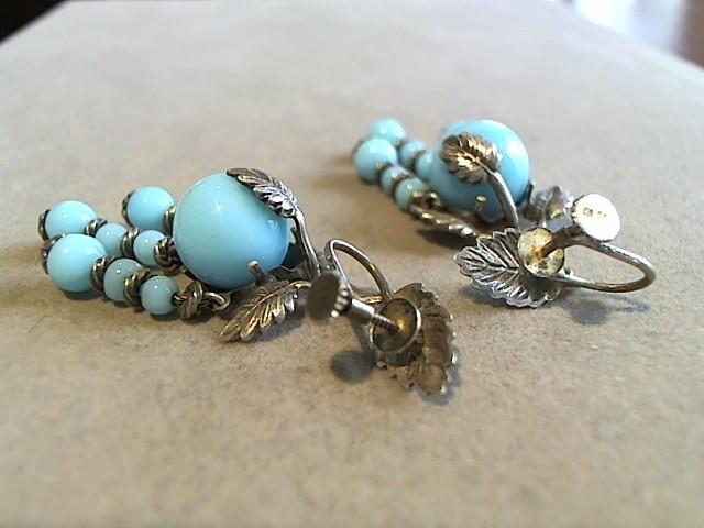 Blue Stone Gold-Stone Earrings 10K White Gold 7g