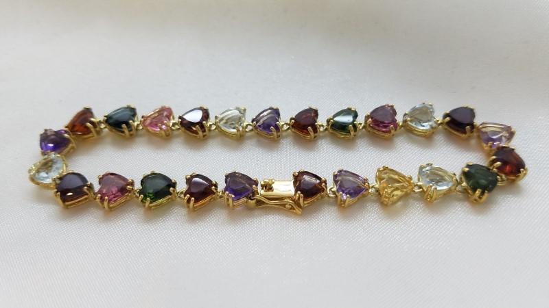 Red Stone Gold-Stone Bracelet 18K Yellow Gold 14g