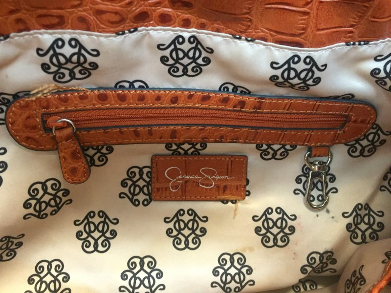 Beautiful Jessica Simpson JS 4661 Steffania Faux Snakeskin Tote in Paprika