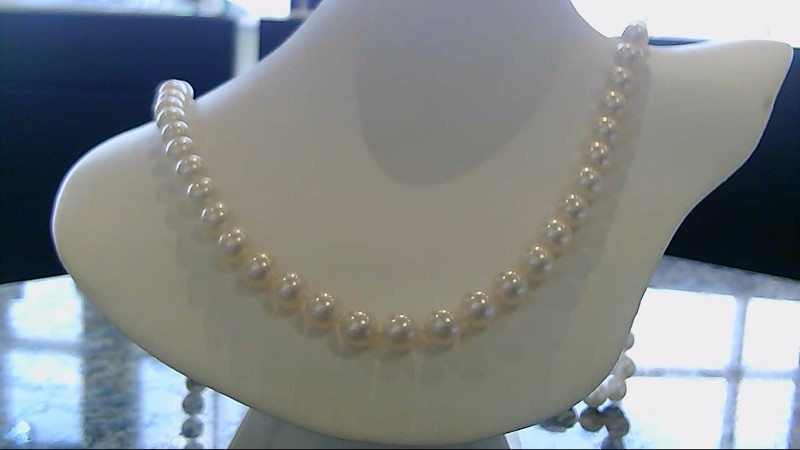 "MIKIMOTO 30"" 8MM WHITE Pearl Necklace 18K Yellow Gold 2.5g"