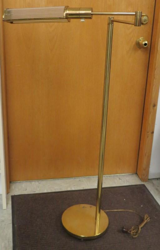 CASELLA LIGHTING Brass C1230 Swing Arm Floor Lamp with Glass Tube Pharmacy Shade