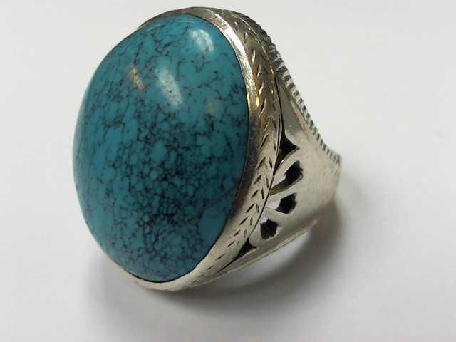 Turquoise Gent's Silver & Stone Ring 925 Silver 20.1g