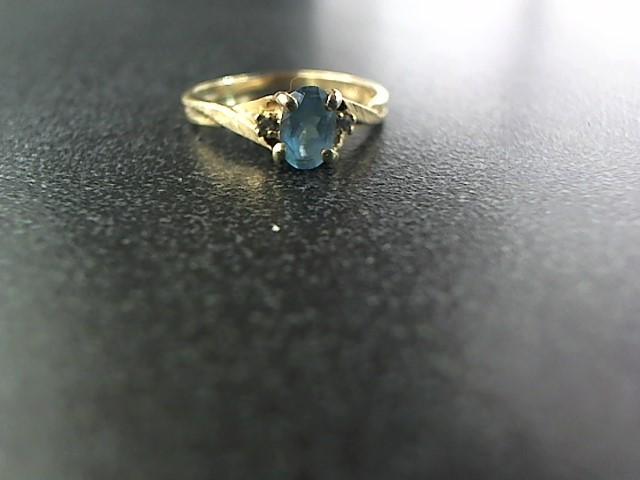 Synthetic Aquamarine Lady's Stone & Diamond Ring 2 Diamonds .002 Carat T.W.